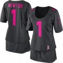 Women Nike Carolina Panthers &1 Cam Newton Elite Dark Grey Breast Cancer Awareness NFL Jersey