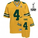 Reebok Green Bay Packers &4 Brett Favre Yellow 2011 Super Bowl XLV Replica Throwback NFL Jersey