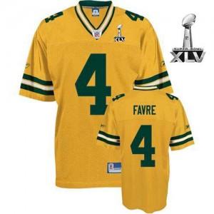 Les Packers de verte Bay Reebok # 4 Brett Favre jaune 2011 Super Bowl XLV Throwback NFL maillot Replica