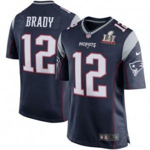 New England Patriots, Tom Brady Hommes Nike Marine Super Bowl LI lié aux jeu Maillot