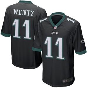Hommes Philadelphia Eagles Carson Wentz Nike Noir Jeu maillots