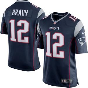 New England Patriots Tom Brady Nike bleu marine/argent jeu maillots masculine