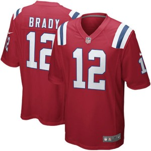 Mens Patriots de la Nouvelle-Angleterre Tom Brady Nike rouge alterner jeu maillots