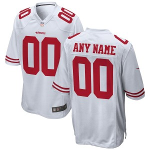 Hommes de San Francisco 49ers Nike Blanc 2018 maillot de jeu personnalisé