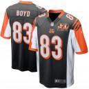 Cincinnati Bengals Tyler Boyd Nike de hommes noir 50e anniversaire Patch jeu maillots