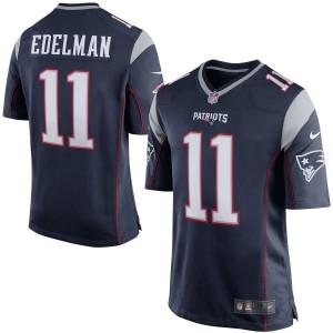 New England Patriots Julian Edelman Nike maillot de jeu bleu marine pour homme