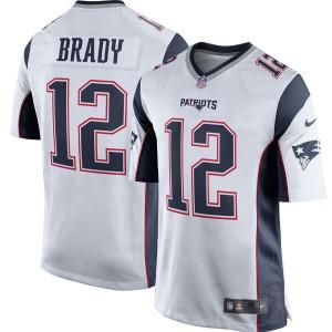 Maillot de football Nike New England Patriots Tom Brady pour Homme Blanc / Bleu Marine