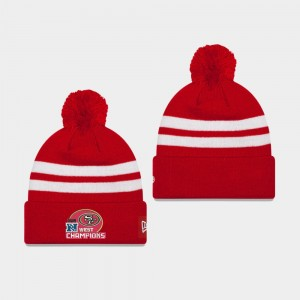 Hommes San Francisco 49ers 2019 NFC West Division Stripe Champions Pom Cuffed Bonnet - Scarlet