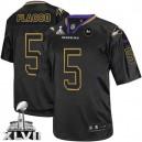Men Nike Baltimore Ravens &5 Joe Flacco Elite Lights Out Black Super Bowl XLVII NFL Jersey