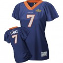 Reebok Denver Broncos &7 John Elway Blue Women Field Flirt with Super Bowl Patch Replica Throwback NFL Jersey