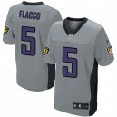 Men Nike Baltimore Ravens &5 Joe Flacco Elite Grey Shadow NFL Jersey