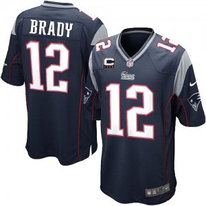 Jeunesse Nike New England Patriots # 12 Tom Brady élite bleu marine équipe couleur C Patch NFL Maillot Magasin
