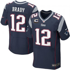 Hommes Nike New England Patriots # 12 Tom Brady élite bleu marine équipe couleur C Patch NFL Maillot Magasin