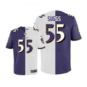 Hommes Nike Baltimore Ravens # 55 Terrell Suggs élite Team/route deux tonnes NFL Maillot Magasin