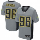 Men Nike San Diego Chargers &96 Jarret Johnson Elite Grey Shadow NFL Jersey