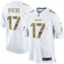 Men Nike San Diego Chargers &17 Philip Rivers Elite White Salute to Service NFL Jersey